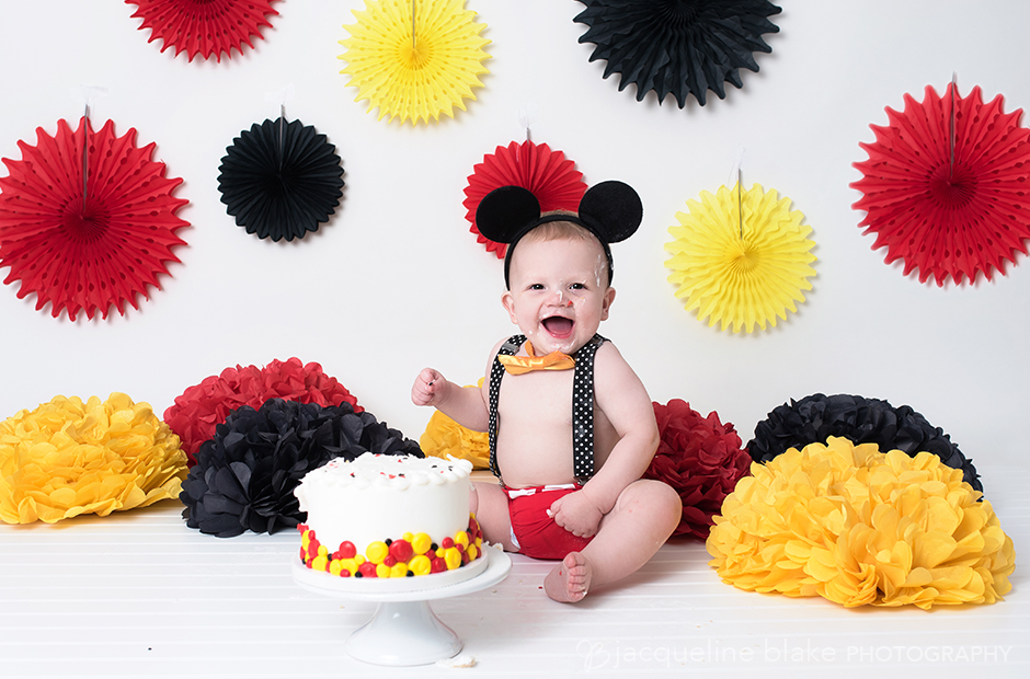 cake smash photo session with Mickey Mouse theme